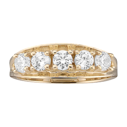 Yellow gold Mothers Ring style 3 with 5 Stones
