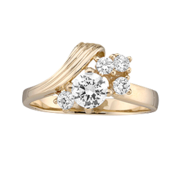 Yellow gold Mothers Ring style 4 with 5 Stones