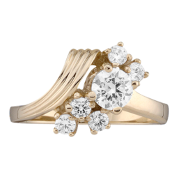 Yellow gold Mothers Ring style 4 with 6 Stones
