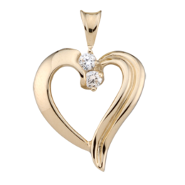 Yellow gold Birthstone Heart Necklace style 83 with 2 Stones