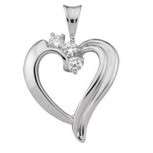 White gold Mothers Pendant style 83 with 3 Stones