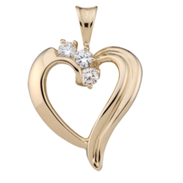 Yellow gold Birthstone Heart Necklace style 83 with 3 Stones