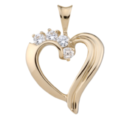 Yellow gold Birthstone Heart Necklace style 83 with 4 Stones