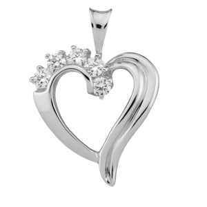 White gold Birthstone Heart Necklace style 83 with 5 Stones