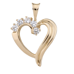 Yellow gold Birthstone Heart Necklace style 83 with 5 Stones