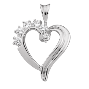 White gold Birthstone Heart Necklace style 83 with 6 Stones