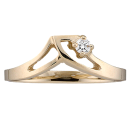 Yellow gold Mothers Ring style 14 with 1 Stones