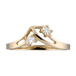 Yellow gold Mothers Ring style 14 with 2 Stones