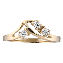 Yellow gold Mothers Ring style 14 with 3 Stones