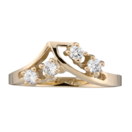 Yellow gold Mothers Ring style 14 with 4 Stones