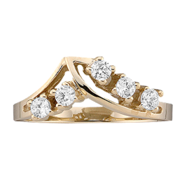 Yellow gold Mothers Ring style 14 with 5 Stones