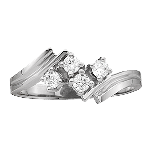White gold Mothers Ring style 11 with 4 Stones