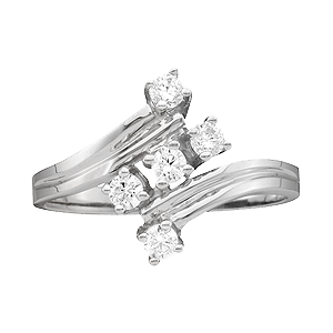 White gold Mothers Ring style 11 with 5 Stones