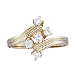 Yellow gold Mothers Ring style 11 with 5 Stones