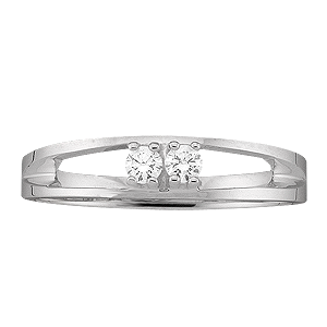 White gold Mothers Ring style 15 with 2 Stones