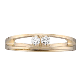 Yellow gold Mothers Ring style 15 with 2 Stones
