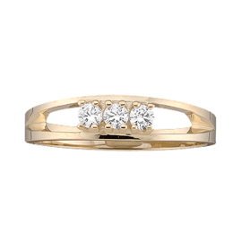 Yellow gold Mothers Ring style 15 with 3 Stones