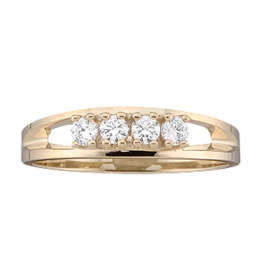 Yellow gold Mothers Ring style 15 with 4 Stones
