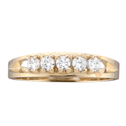 Yellow gold Mothers Ring style 15 with 5 Stones