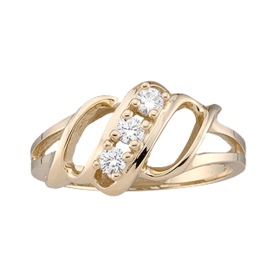 Yellow gold Mothers Ring style 9 with 3 Stones