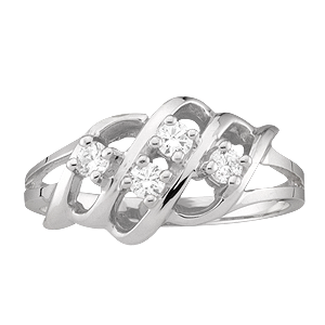 White gold Mothers Ring style 9 with 4 Stones