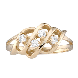 Yellow gold Mothers Ring style 9 with 4 Stones
