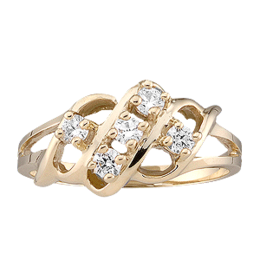 Yellow gold Mothers Ring style 9 with 5 Stones