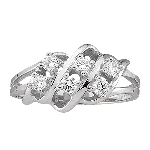 White gold Mothers Ring style 9 Birthstone Ring with 6 Stones