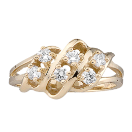 Yellow gold Mothers Ring style 9 Birthstone Ring with 6 Stones
