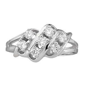 White gold Mothers Ring style 9 with 7 Stones