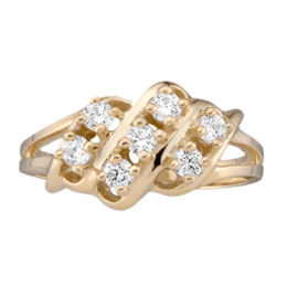 Yellow gold Mothers Ring style 9 with 7 Stones
