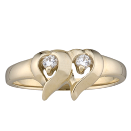 Yellow gold Mothers Ring style 157 with 2 Stones
