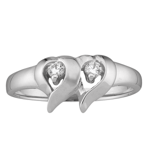 White gold Mothers Ring style 157 with 2 Stones
