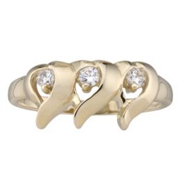 Yellow gold Mothers Ring style 157 with 3 Stones