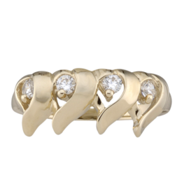 Yellow gold Mothers Ring style 157 with 4 Stones