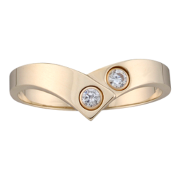 Yellow gold Mothers Ring style 158 with 2 Stones