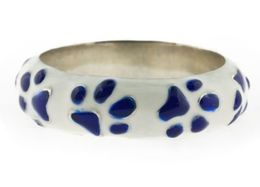 Haggai White And Blue Enamel Sterling Silver Paw Ring