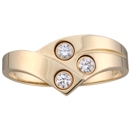Yellow gold Mothers Ring style 158 with 3 Stones