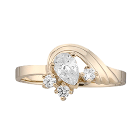 Yellow gold Mothers Ring Style 2 with 4 Stones