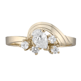 Yellow gold Mothers Ring Style 2 with 5 Stones