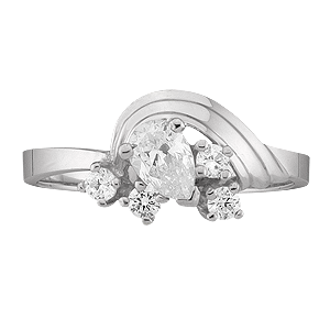 White gold Mothers Ring Style 2 with 5 Stones