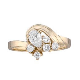 Yellow gold Mothers Ring Style 2 with 6 Stones