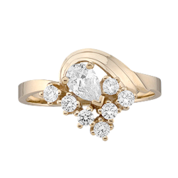 Yellow gold Mothers Ring Style 2 with 8 Stones