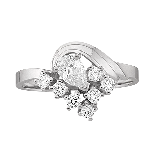 White gold Mothers Ring Style 2 with 8 Stones