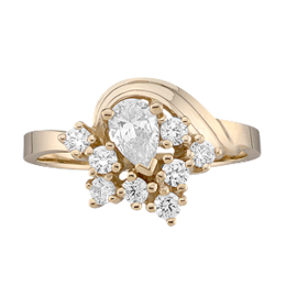 Yellow gold Mothers Ring Style 2 with 9 Stones