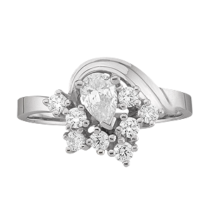 White gold Mothers Ring Style 2 with 9 Stones