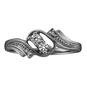 White gold Mothers Ring Style 50 with 2 Stones
