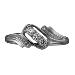 White gold Mothers Ring Style 50 with 3 Stones