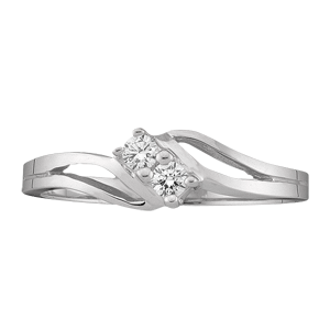 White gold Mothers Ring Style 18 with 2 Stones