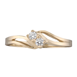 Yellow Gold Mothers Ring Style 18 With 2 Stones